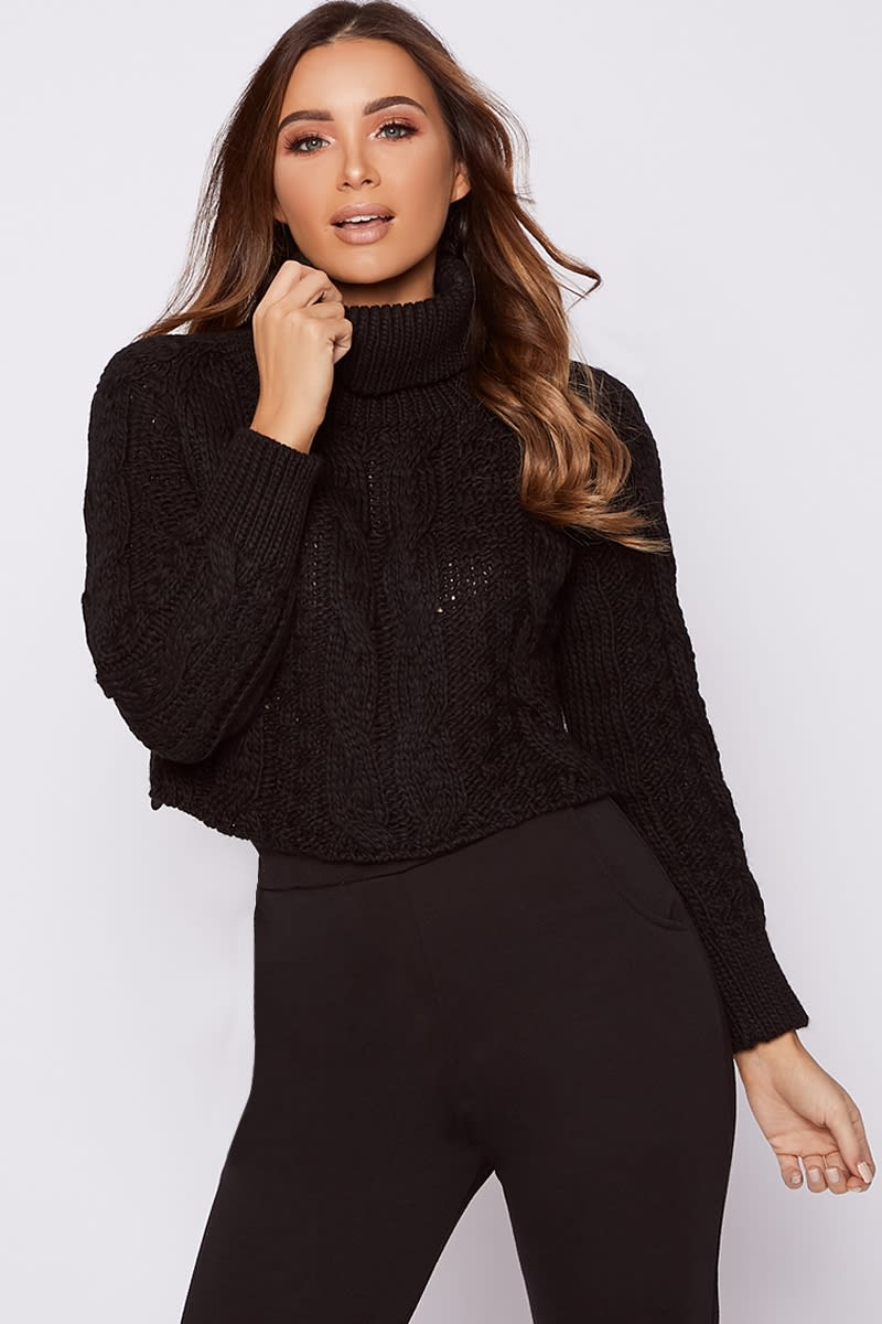 e9676953ea5 Sally Black Roll Neck Cable Knit Cropped Jumper | In The Style Australia