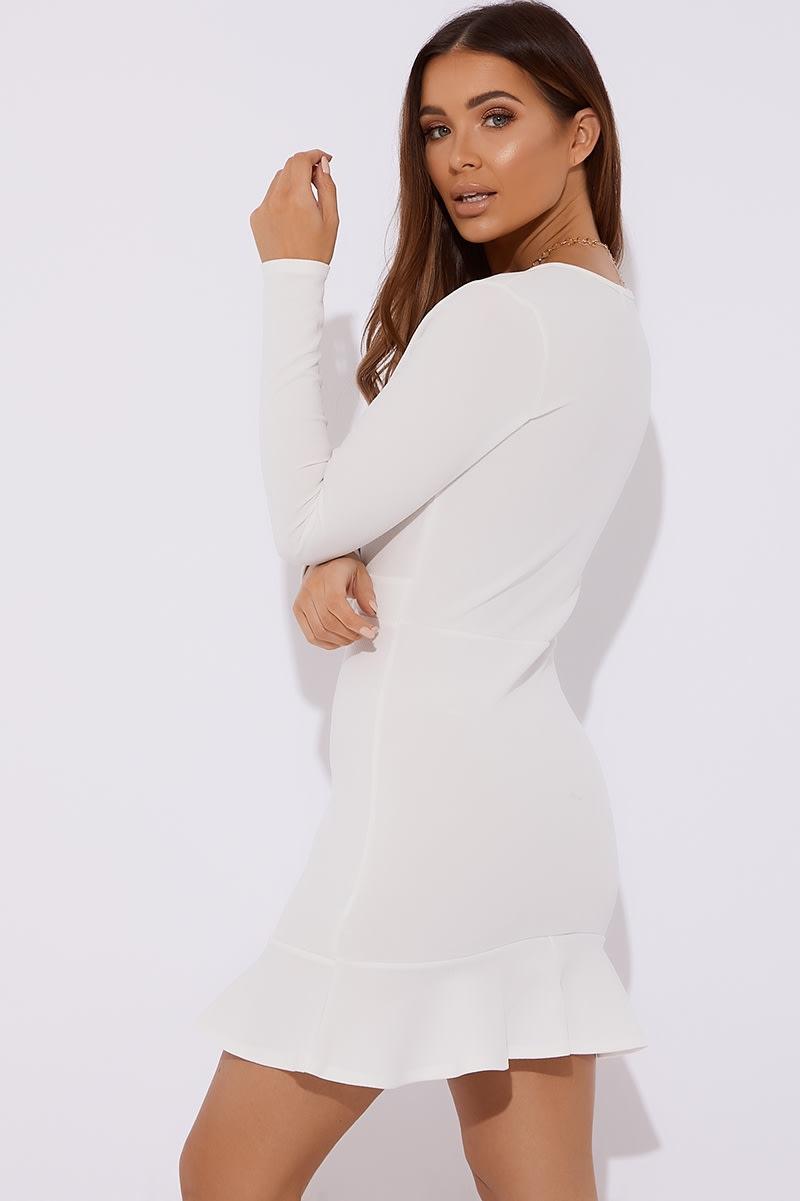 b4b1ff83a Alvi White Plunge Long Sleeve Frill Hem Dress | In The Style
