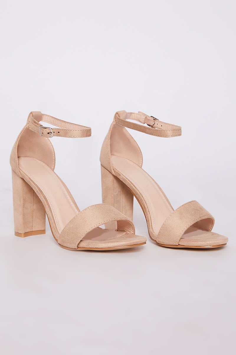 fcc62d305bd4b Morgan Nude Faux Suede Ankle Strap Barely There Block Heels | In The ...
