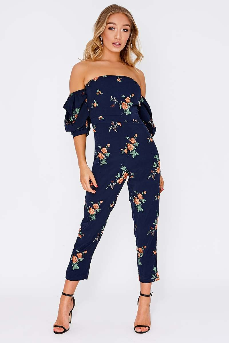 db91386a29242 Chay Navy Floral Ruched Sleeve Bardot Jumpsuit | In The Style