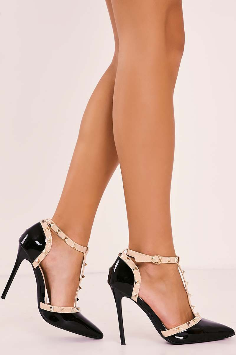 VALLA BLACK STUDDED STRAPPY POINTED COURT HEELS