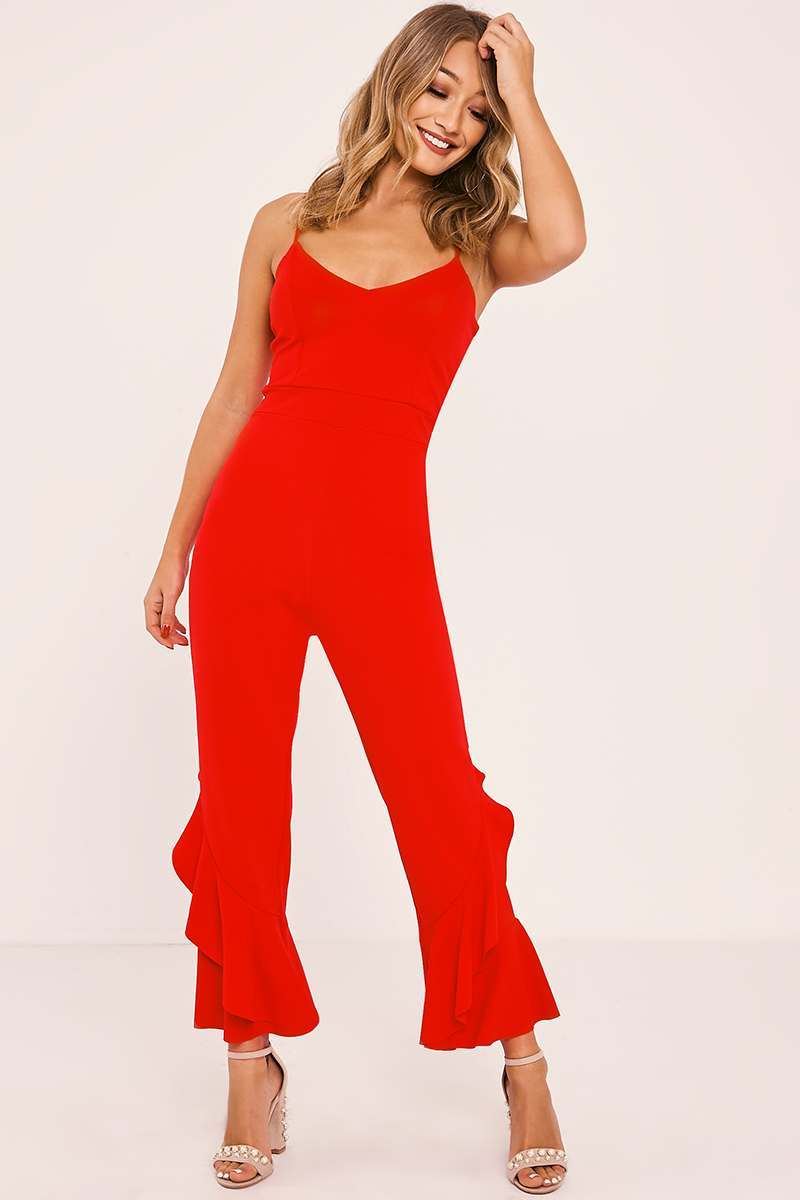 ZAYDA RED FRILL LEG STRAPPY JUMPSUIT