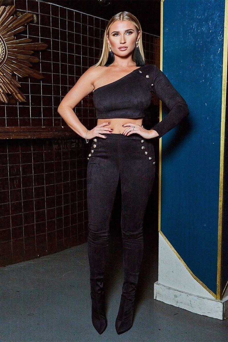 BILLIE FAIERS BLACK FAUX SUEDE ONE SLEEVE GOLD BUTTON CROP TOP