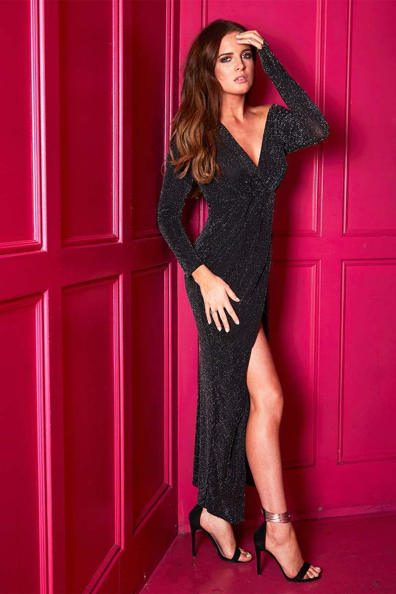 BINKY BLACK LUREX WRAP MAXI DRESS