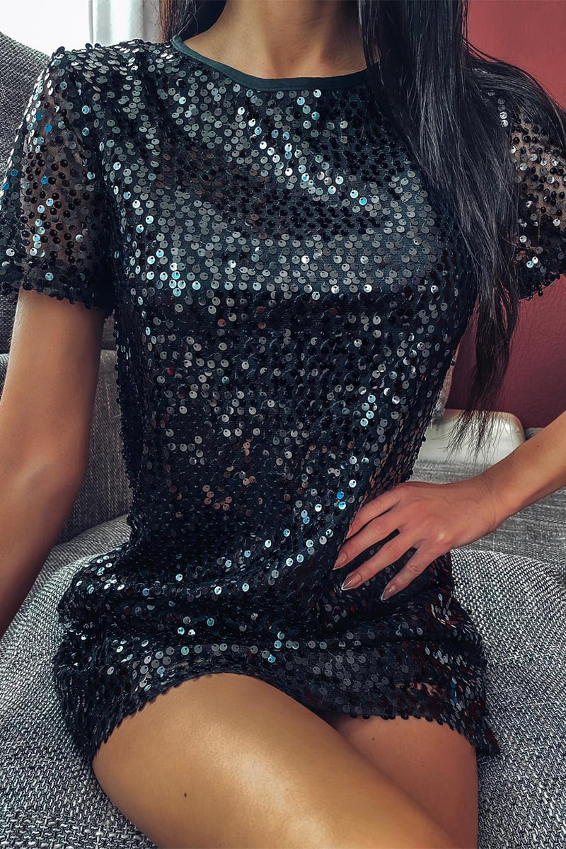MADELINE BLACK SEQUIN T SHIRT DRESS