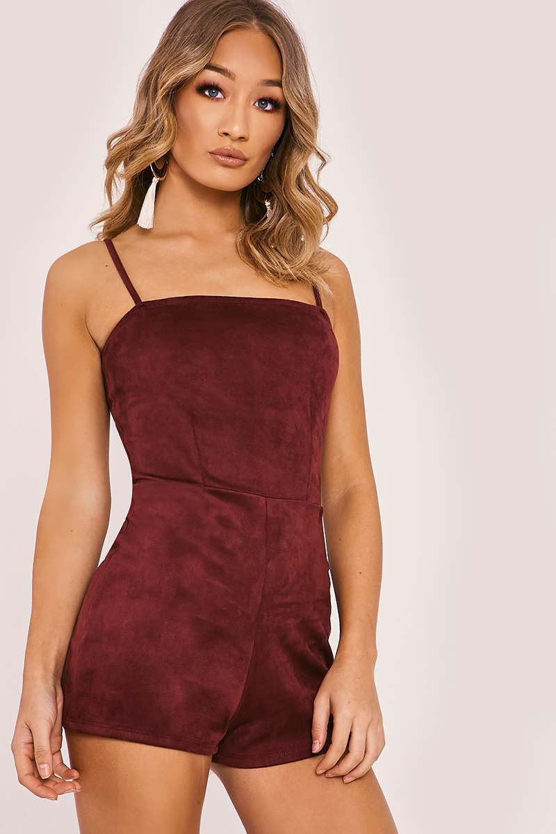 RALEY PLUM FAUX SUEDE CAMI PLAYSUIT