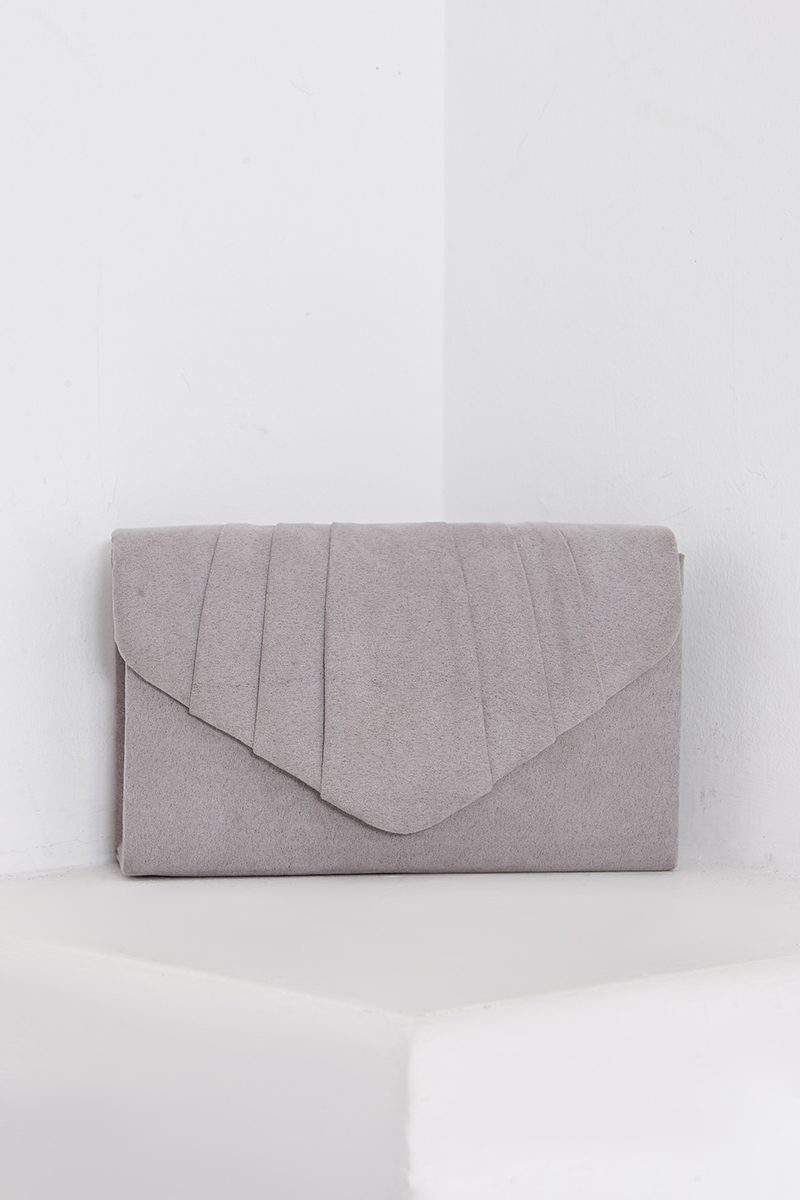 GREY FAUX SUEDE FOLD OVER CLUTCH BAG