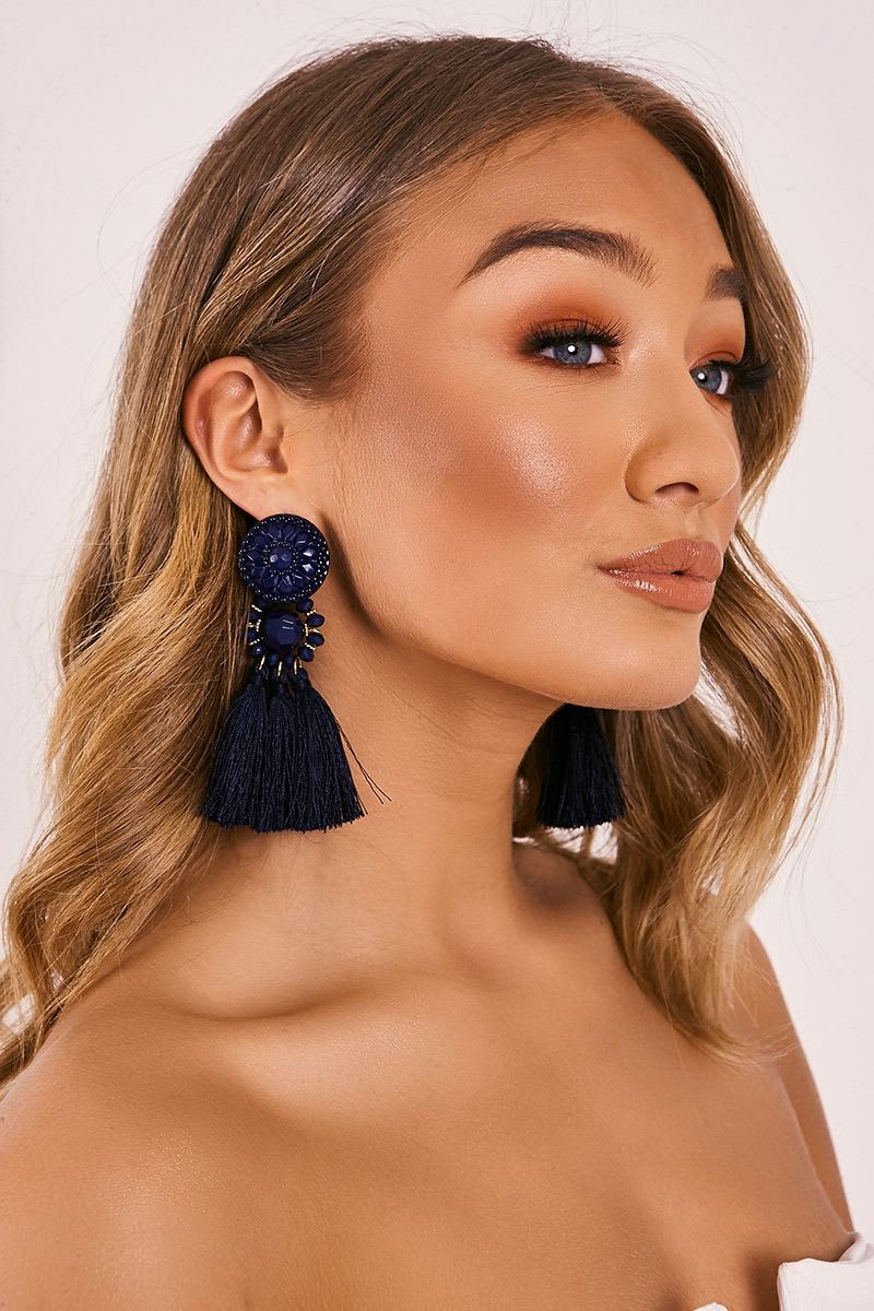 NAVY ART DECO TASSEL EARRINGS