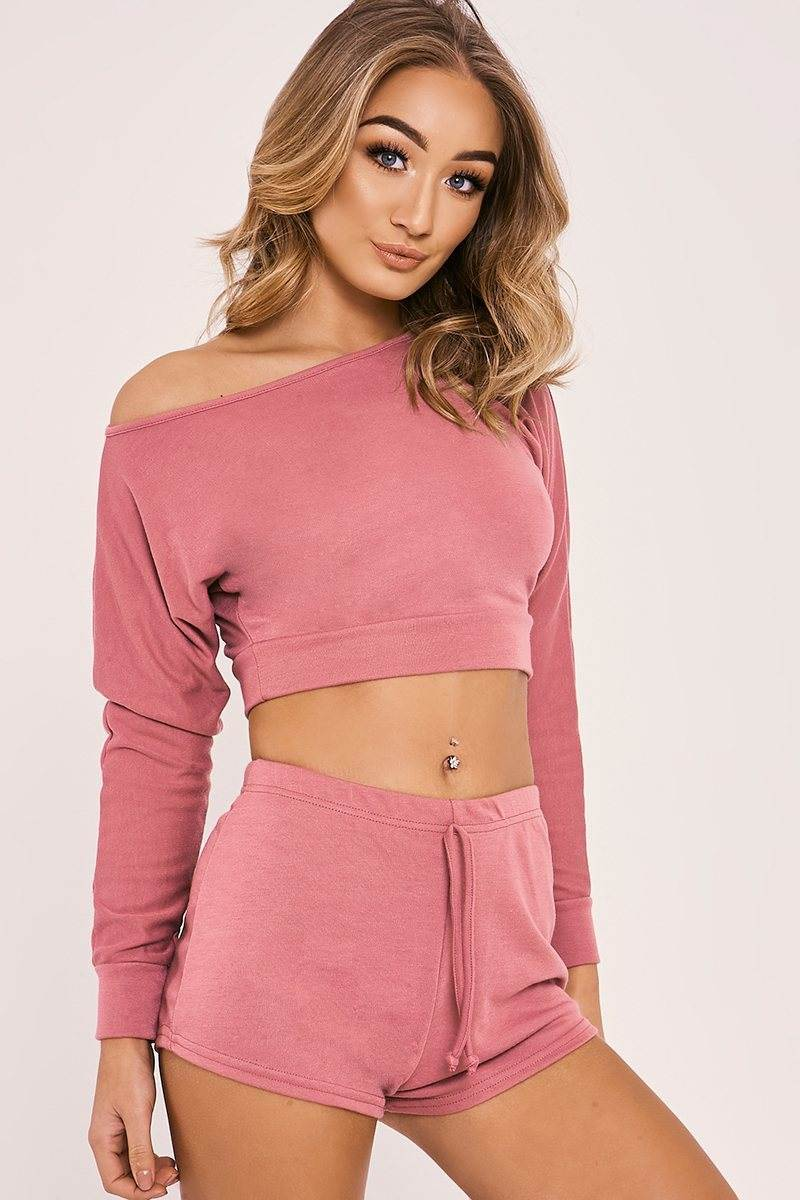 LINEY ROSE ONE SHOULDER TOP AND SHORTS LOUNGE SET