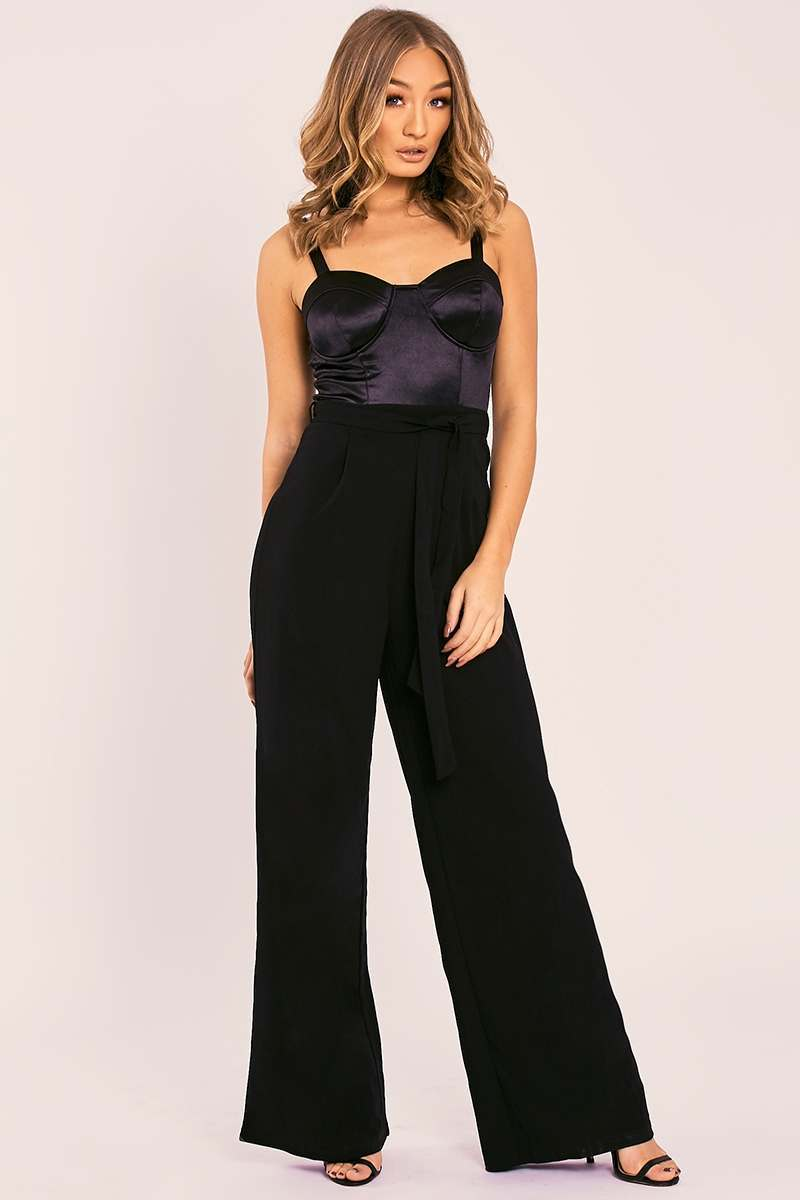 TAISIE BLACK SATIN CUPPED CONTRAST BELTED PALAZZO JUMPSUIT