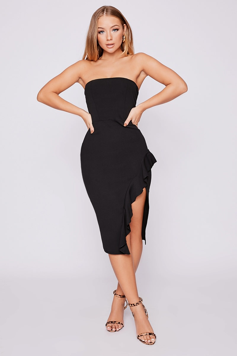 ce7dc2bb8 Billie Faiers Black Bandeau Frill Side Midi Dress | In The Style