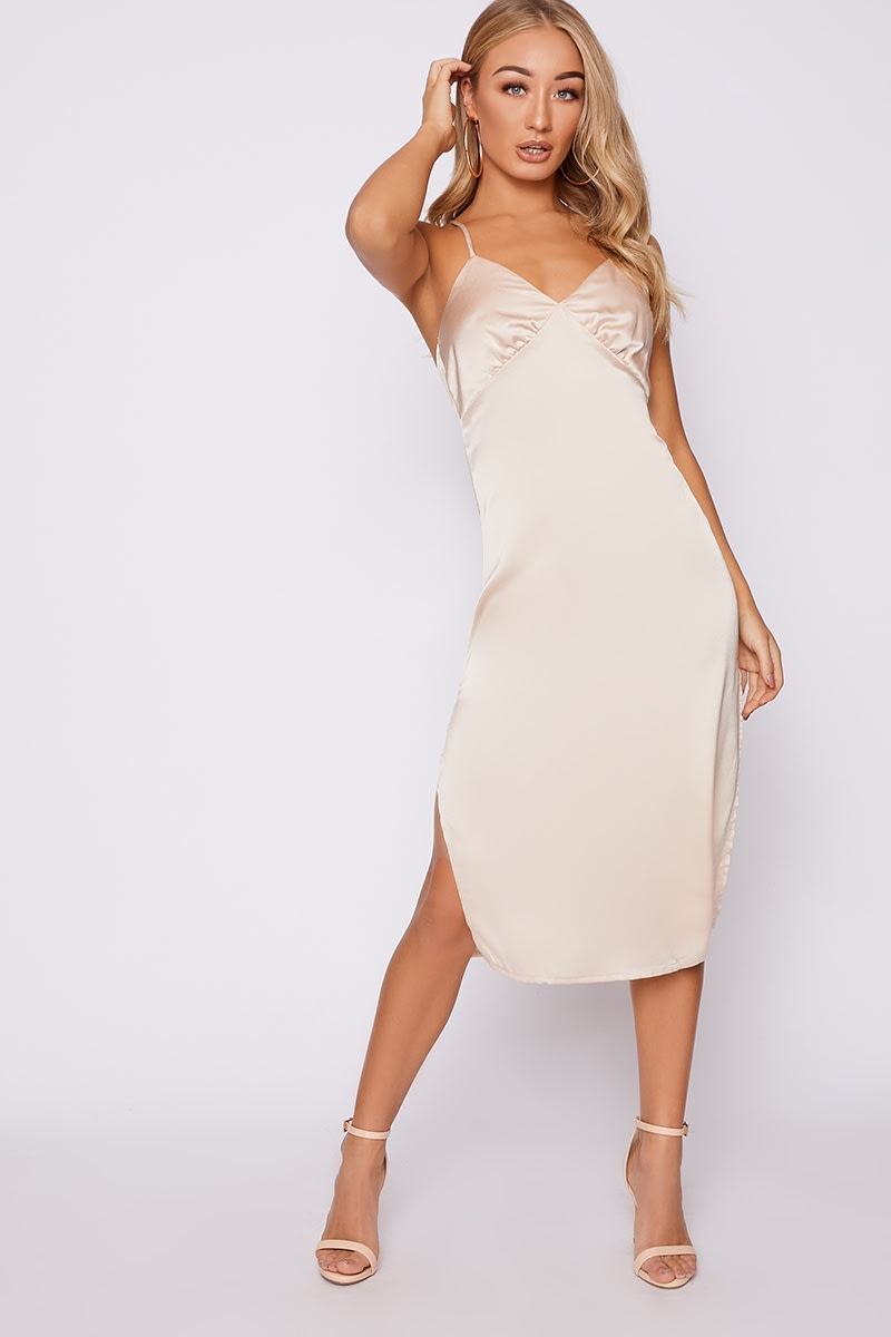 ABIAH NUDE SATIN MIDI SLIP DRESS