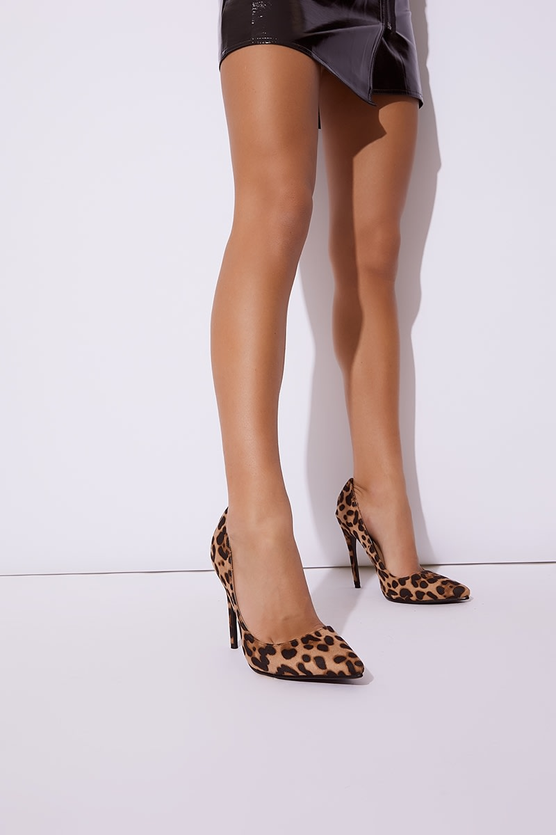 LYSABETH BROWN LEOPARD FAUX SUEDE PRINT COURT SHOES