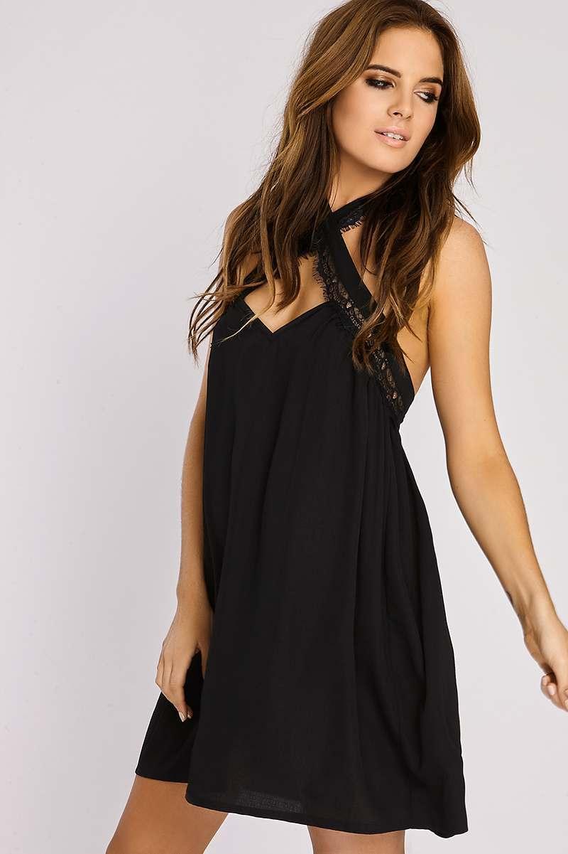 BINKY BLACK CROSS FRONT HALTERNECK SWING DRESS