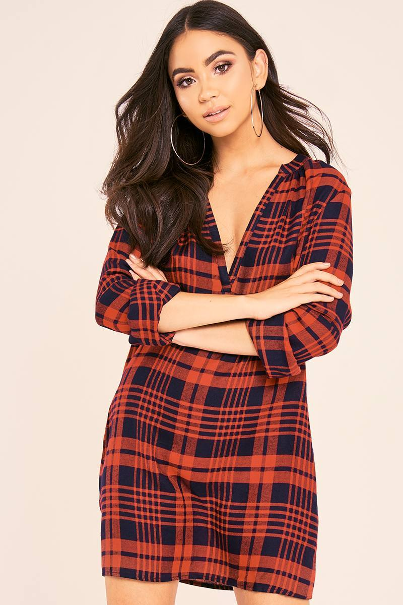 BINKY RED CHECK PLUNGE OVERSIZED SHIRT DRESS