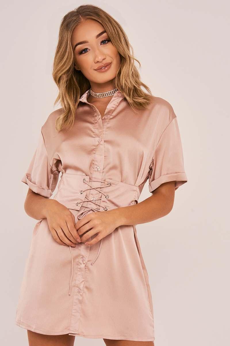 LORIA NUDE CORSET LACE UP SILKY SHIRT DRESS