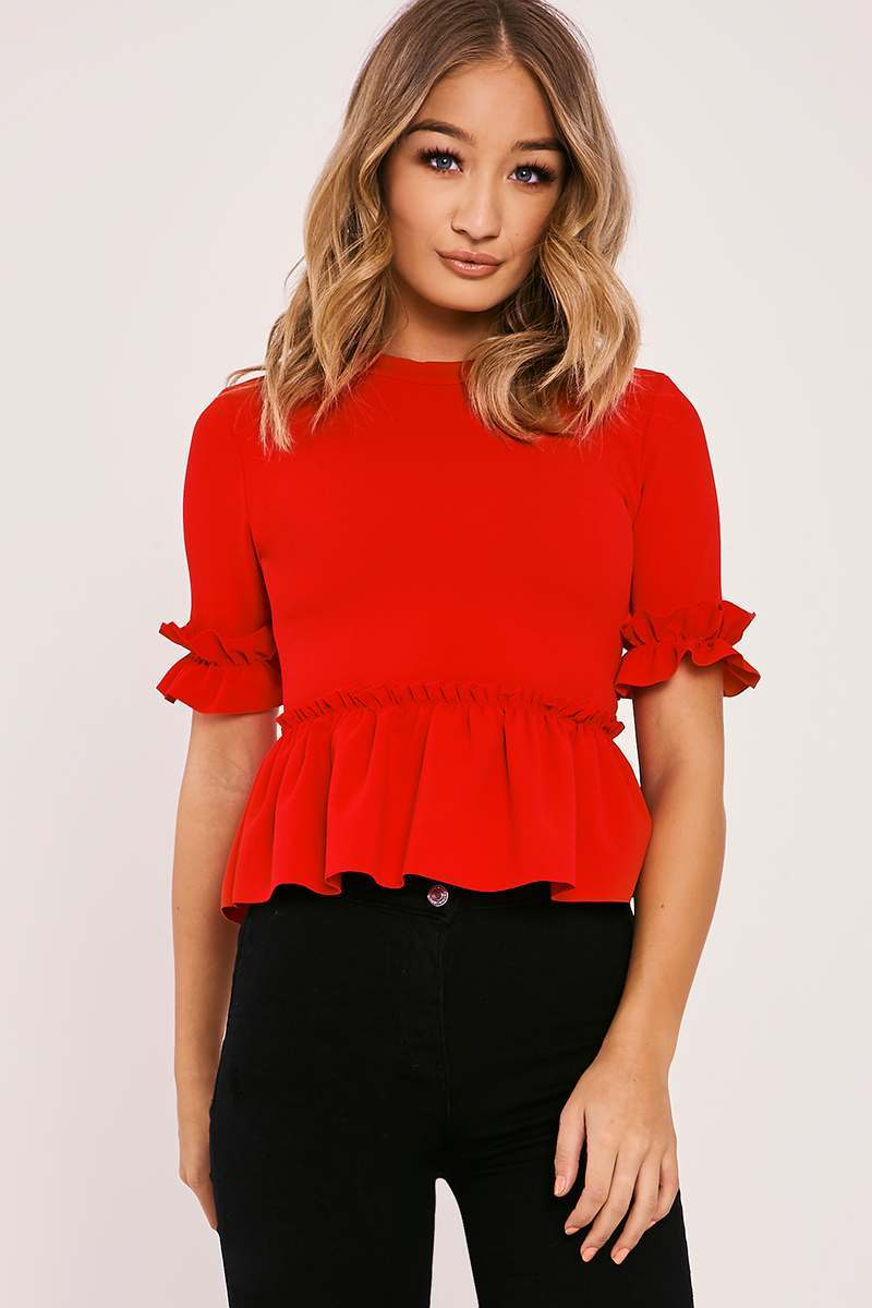 JANINA RED FRILL HEM TOP