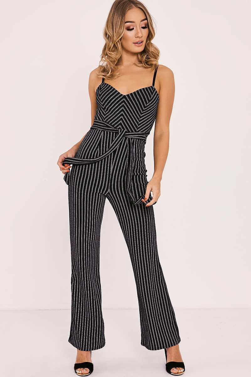 ROZANN BLACK STRIPED TIE WAIST JUMPSUIT