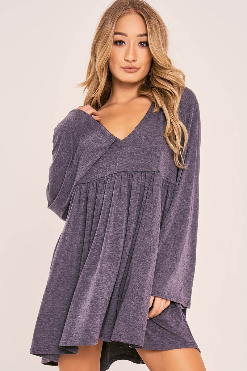 CHARLOTTE CROSBY CHARCOAL FLARED SLEEVE JERSEY DRESS
