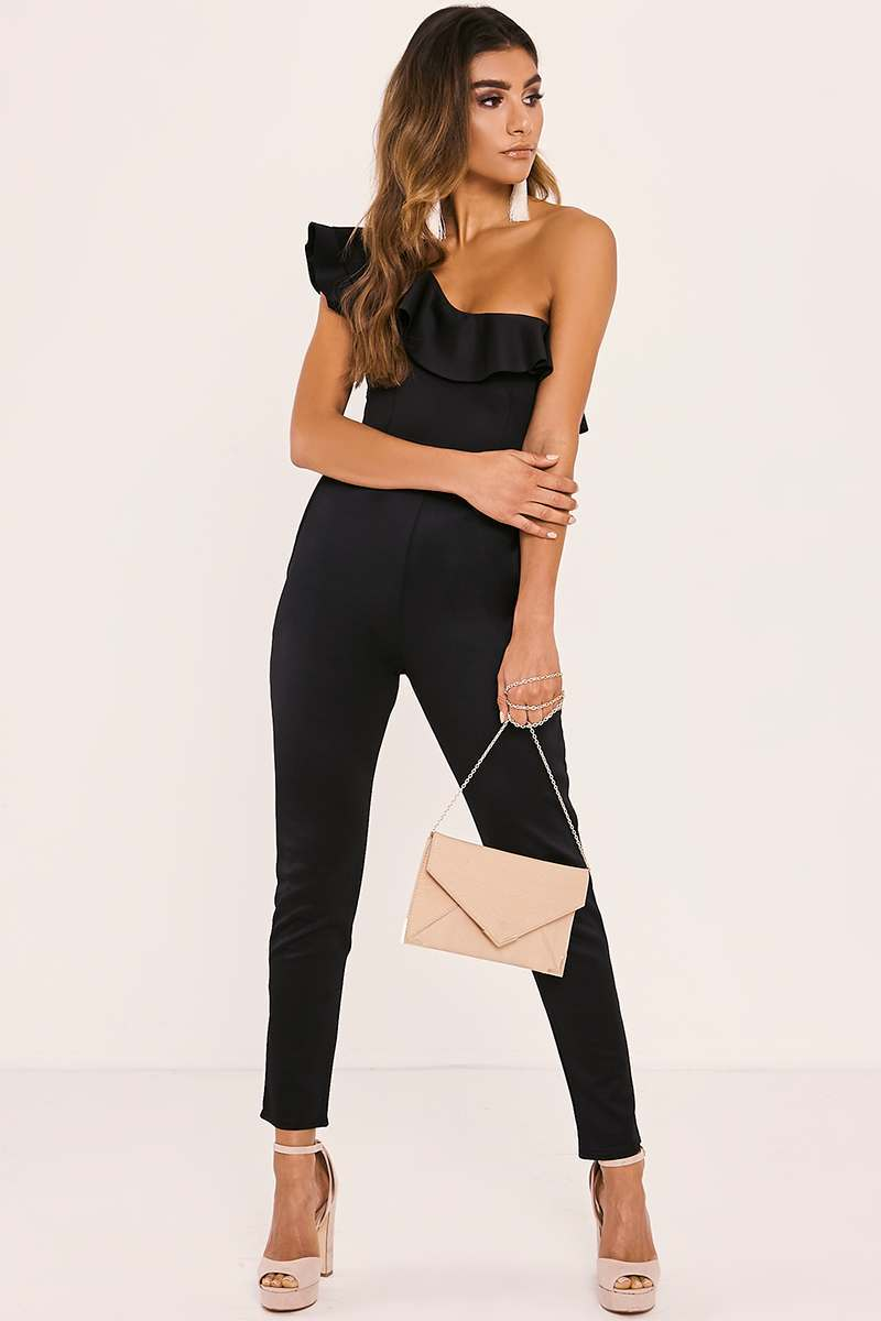 SYDNIE BLACK ONE SHOULDER FRILL JUMPSUIT