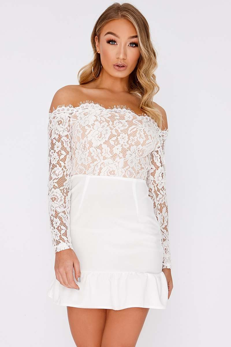 BILLIE FAIERS WHITE BARDOT EYELASH LACE PEPLUM DRESS