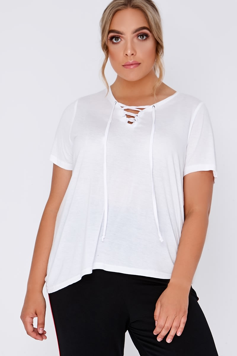 CURVE KALLY WHITE LACE UP FRONT TSHIRT