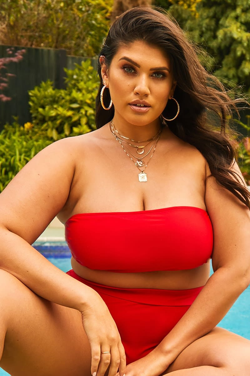 CURVE LATECIA RED BANDEAU BIKINI TOP