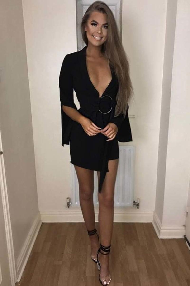 BINKY BLACK PLUNGE WRAP BLAZER DRESS