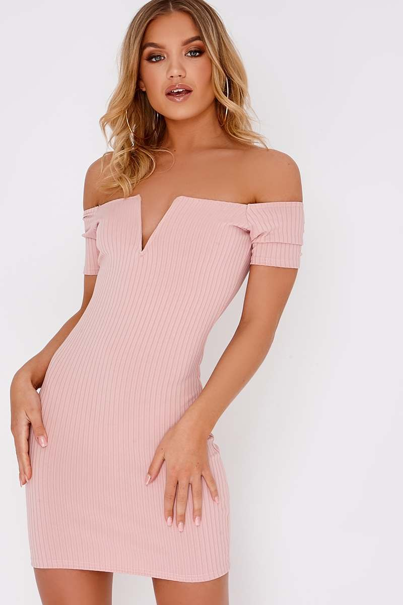 ELCIE PINK PLUNGE RIBBED BARDOT MINI DRESS