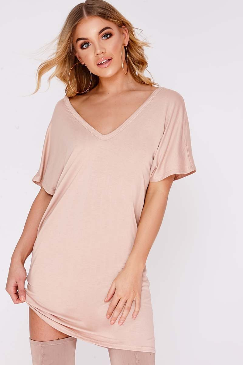 BEV NUDE PLUNGE OVERSIZED T SHIRT DRESS