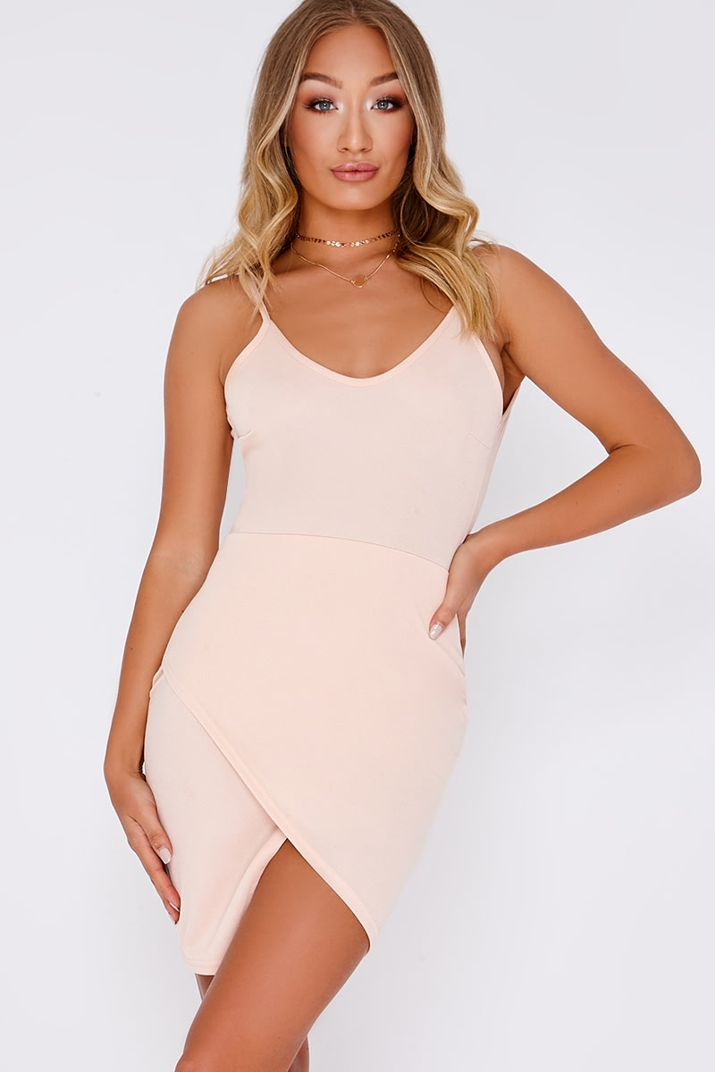 DEVINNE NUDE SCOOP BACK MINI DRESS