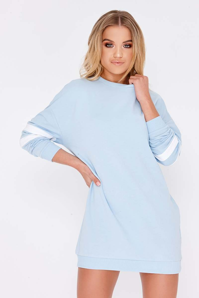 CAITLIE BLUE SPORTS STRIPE SWEATER DRESS