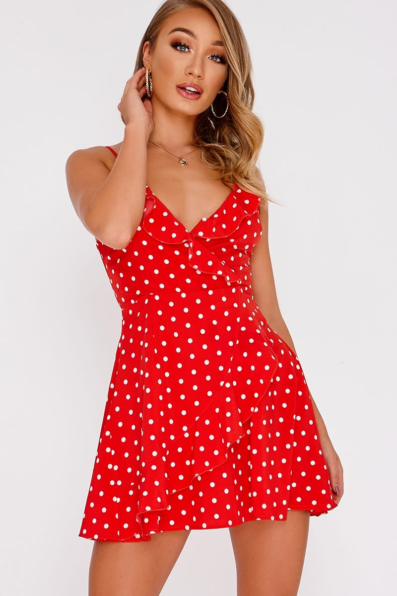 DAIYA RED POLKA DOT WRAP FRILL MINI DRESS