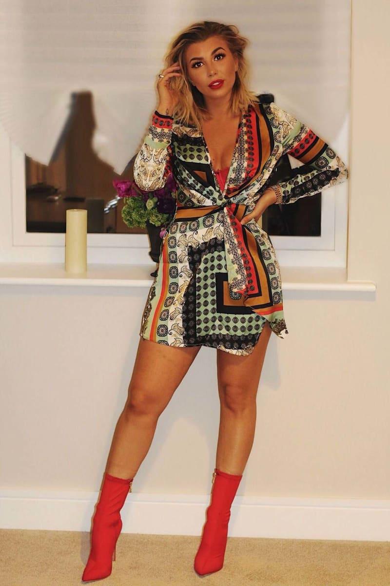 ALMIA WHITE SCARF PRINT TWIST FRONT WRAP DRESS
