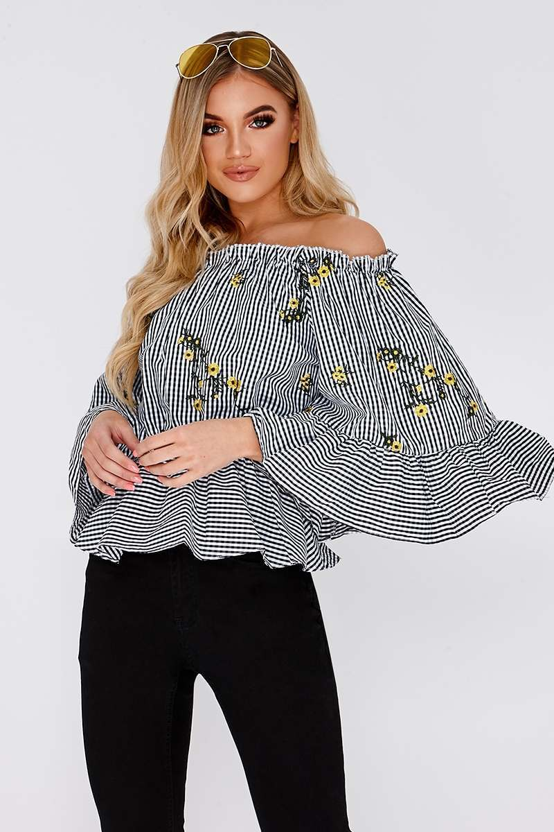LAISHA BLACK GINGHAM FLORAL TOP