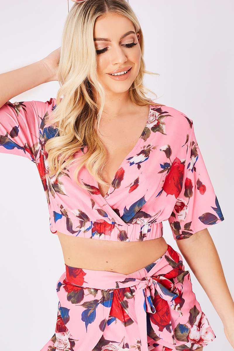 MALERIE PINK FLORAL WRAP FRONT CROP TOP