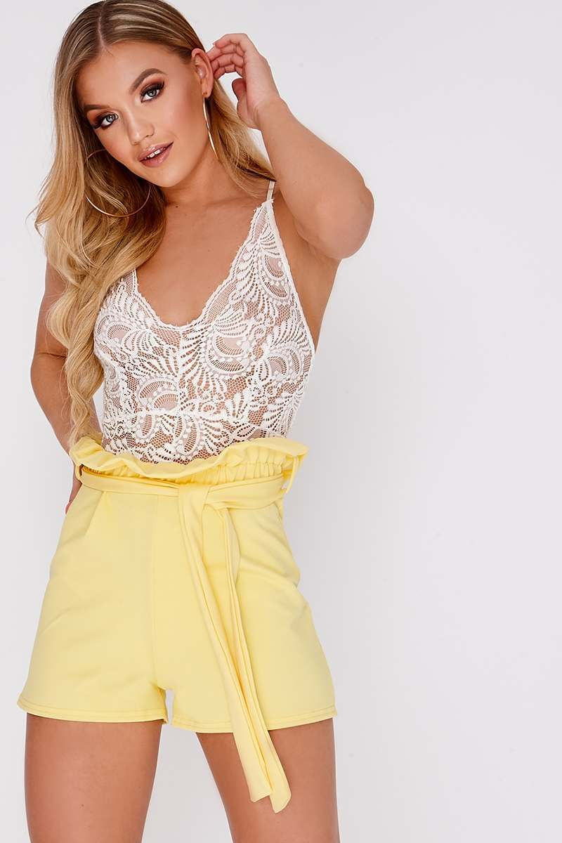 LANDRIE YELLOW HIGH WAISTED PAPERBAG SHORTS