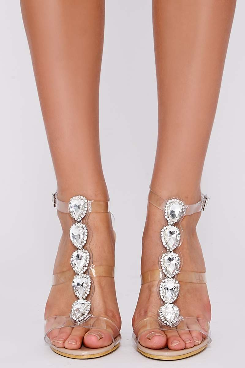 VIOLET NUDE PATENT JEWELED CLEAR STRAP HEELS