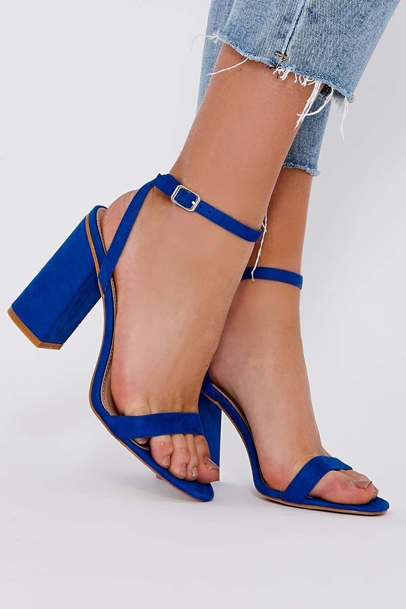 SKY BLUE FAUX SUEDE BARELY THERE BLOCK HEELS