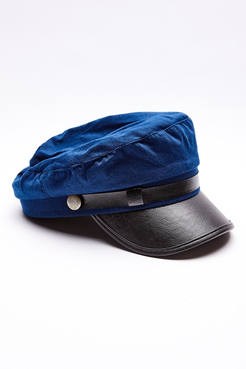 BLUE MILITARY BAKER BOY HAT