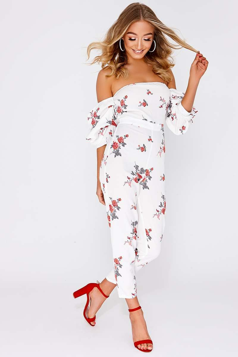 CHAY WHITE FLORAL RUCHED SLEEVE BARDOT JUMPSUIT