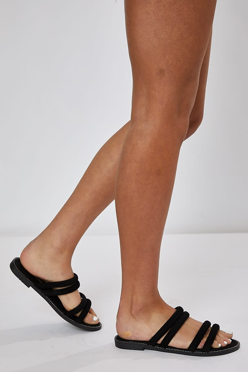 HENELY BLACK DOUBLE STRAP SLIDERS