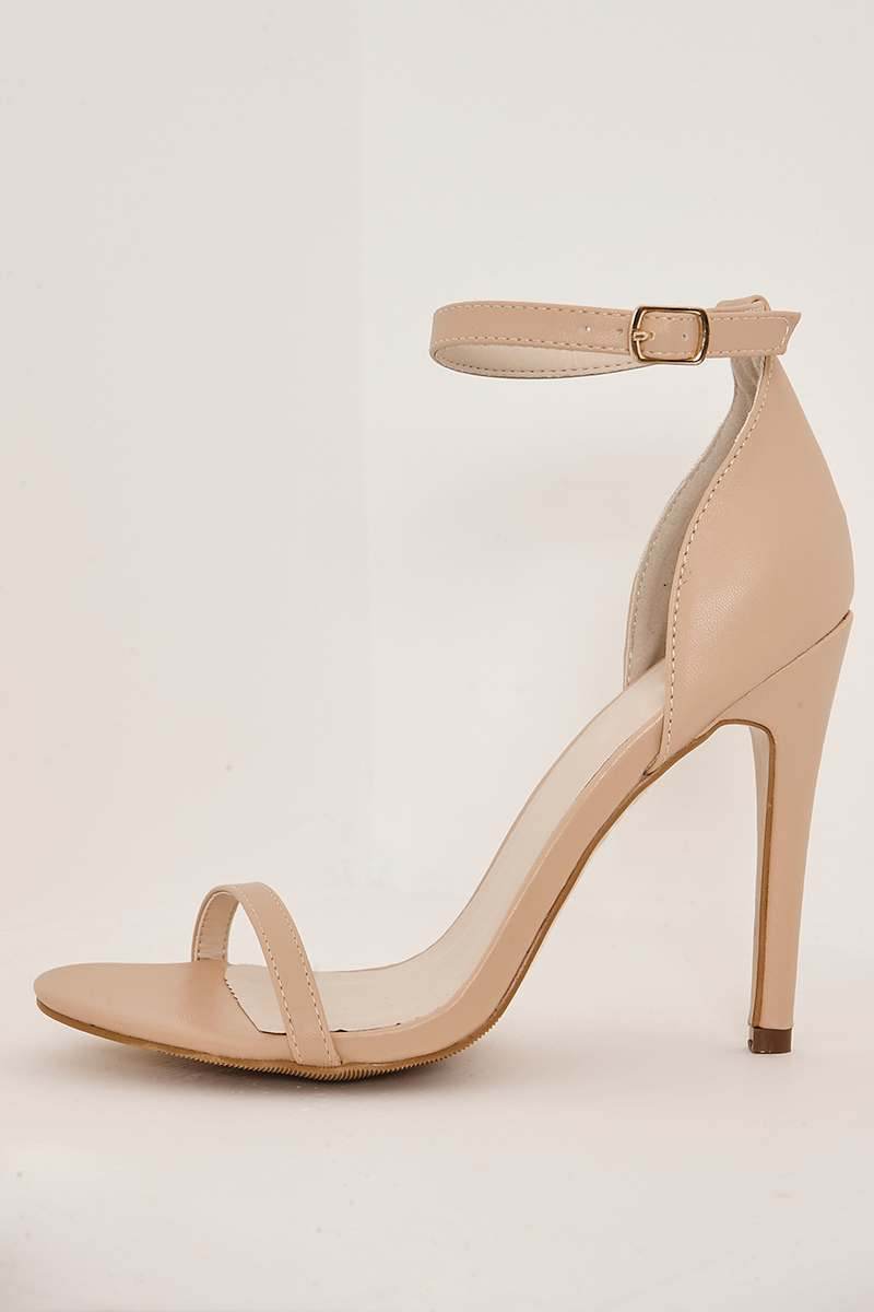WIDE FIT CORIN NUDE ANKLE STRAP BARELY THERE HEELS