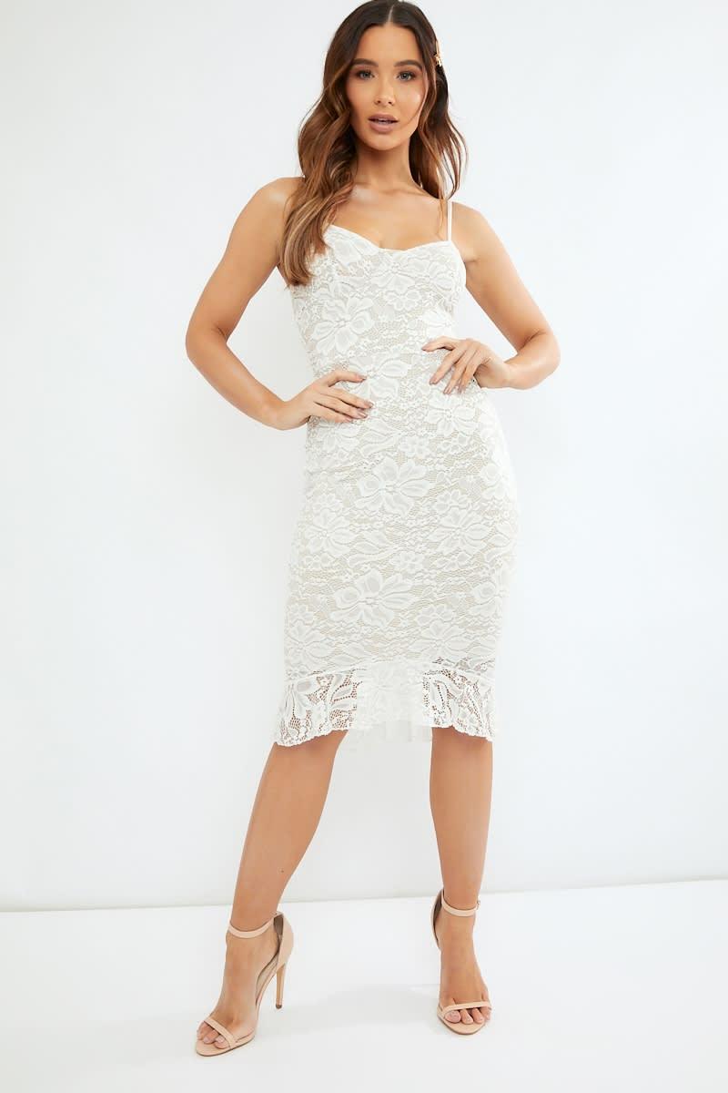d710e1156 Doreen White Lace Peplum Hem Midi Dress | In The Style
