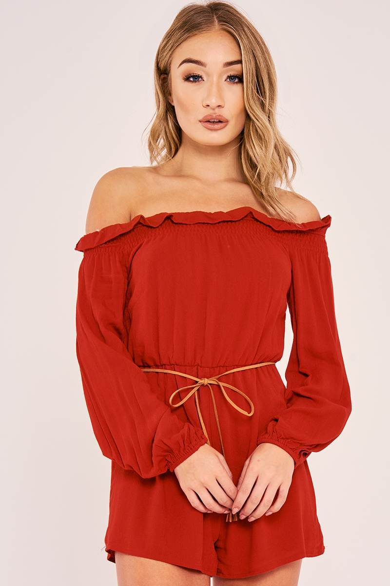 CARALYN RED LONG SLEEVE FRILL BARDOT PLAYSUIT