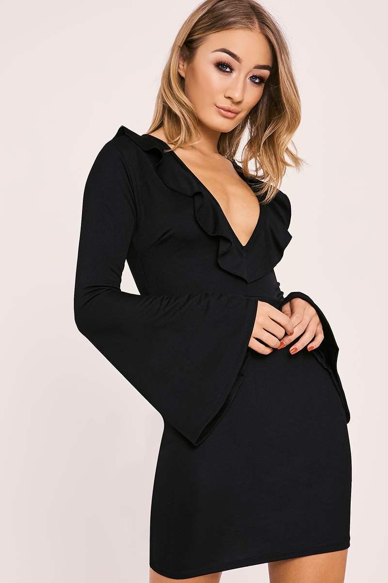 BAYLIE BLACK FRILL PLUNGE FLARED SLEEVE BODYCON DRESS