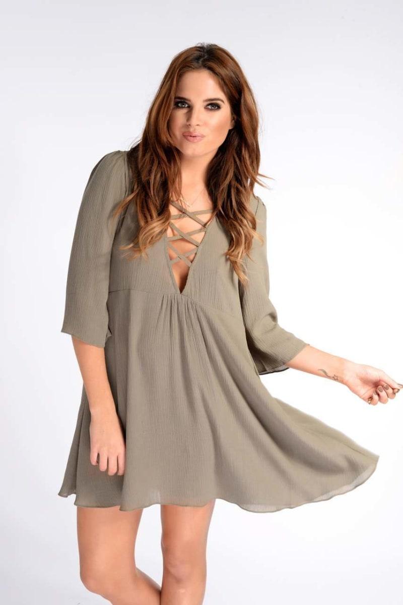 Binky Khaki Cheesecloth Swing Dress