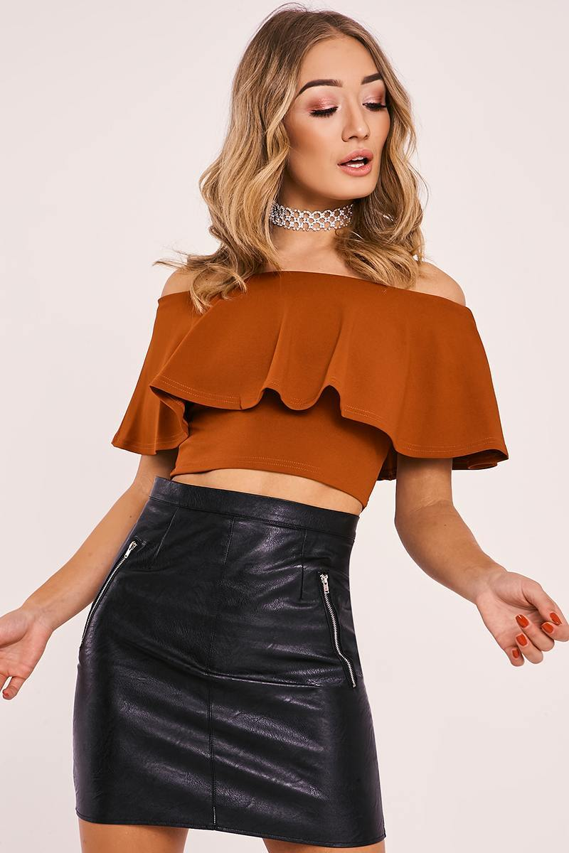 OLIVE RUST BARDOT FRILL CROP TOP
