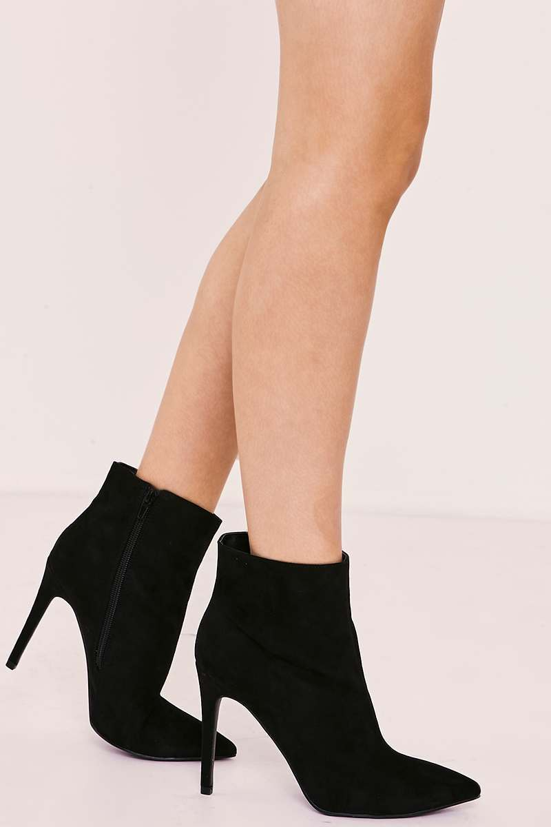 SHAILA BLACK FAUX SUEDE HEELED ANKLE BOOTS