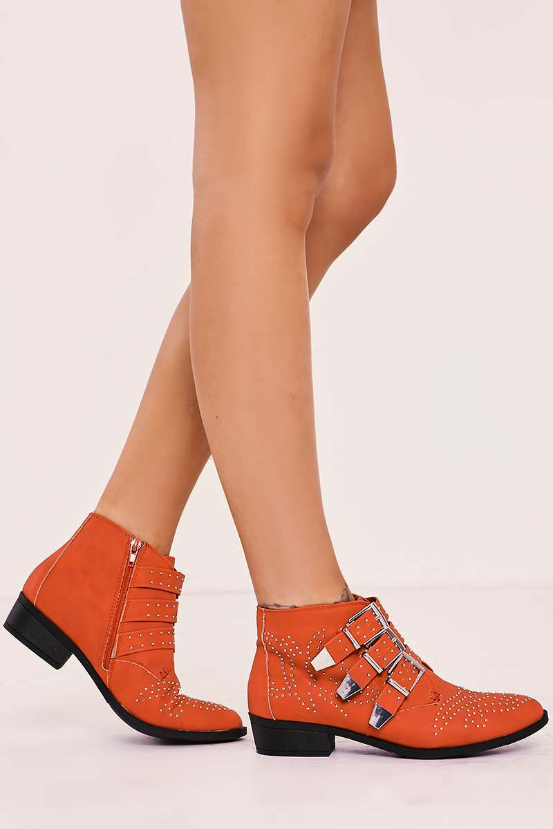 TAMIA RED FAUX LEATHER STUDDED BUCKLE ANKLE BOOTS
